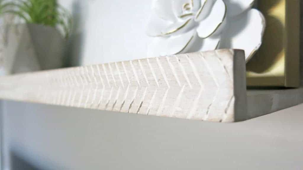White Washed Herringbone Shelves by Minted