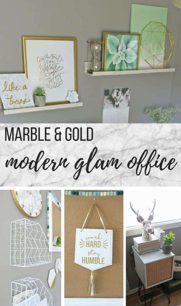 Collage decor in office with text overlay that says marble and gold modern glam office
