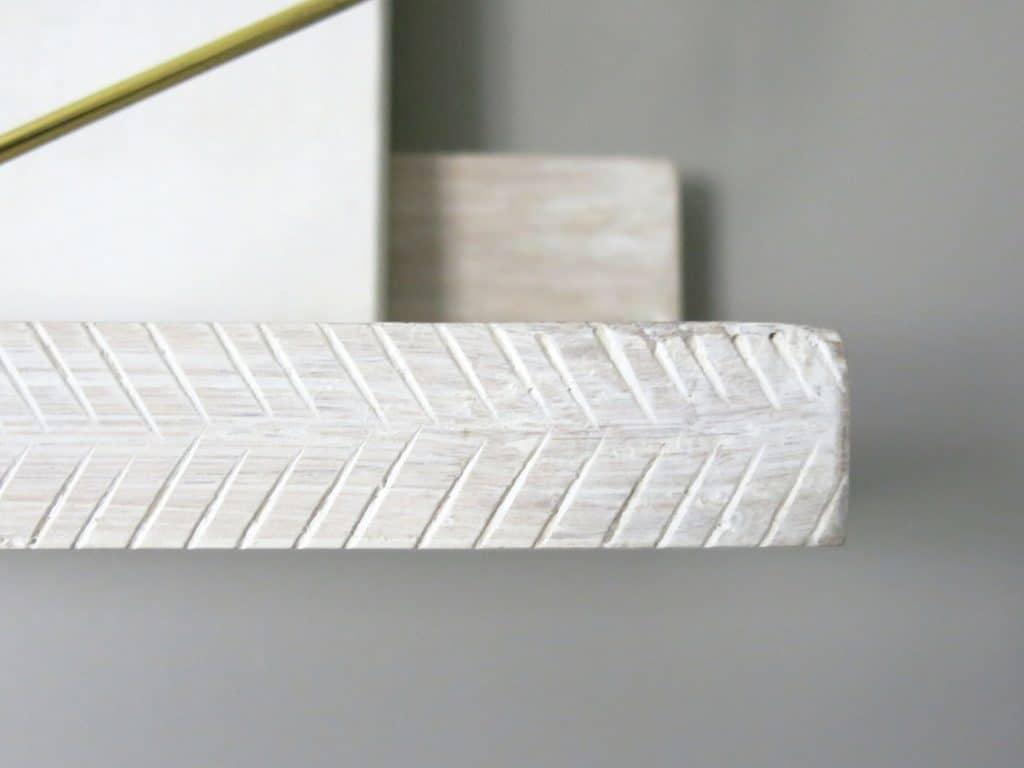 Whitewashed Herringbone Art Shelves by Minted | Farmhouse style shelves
