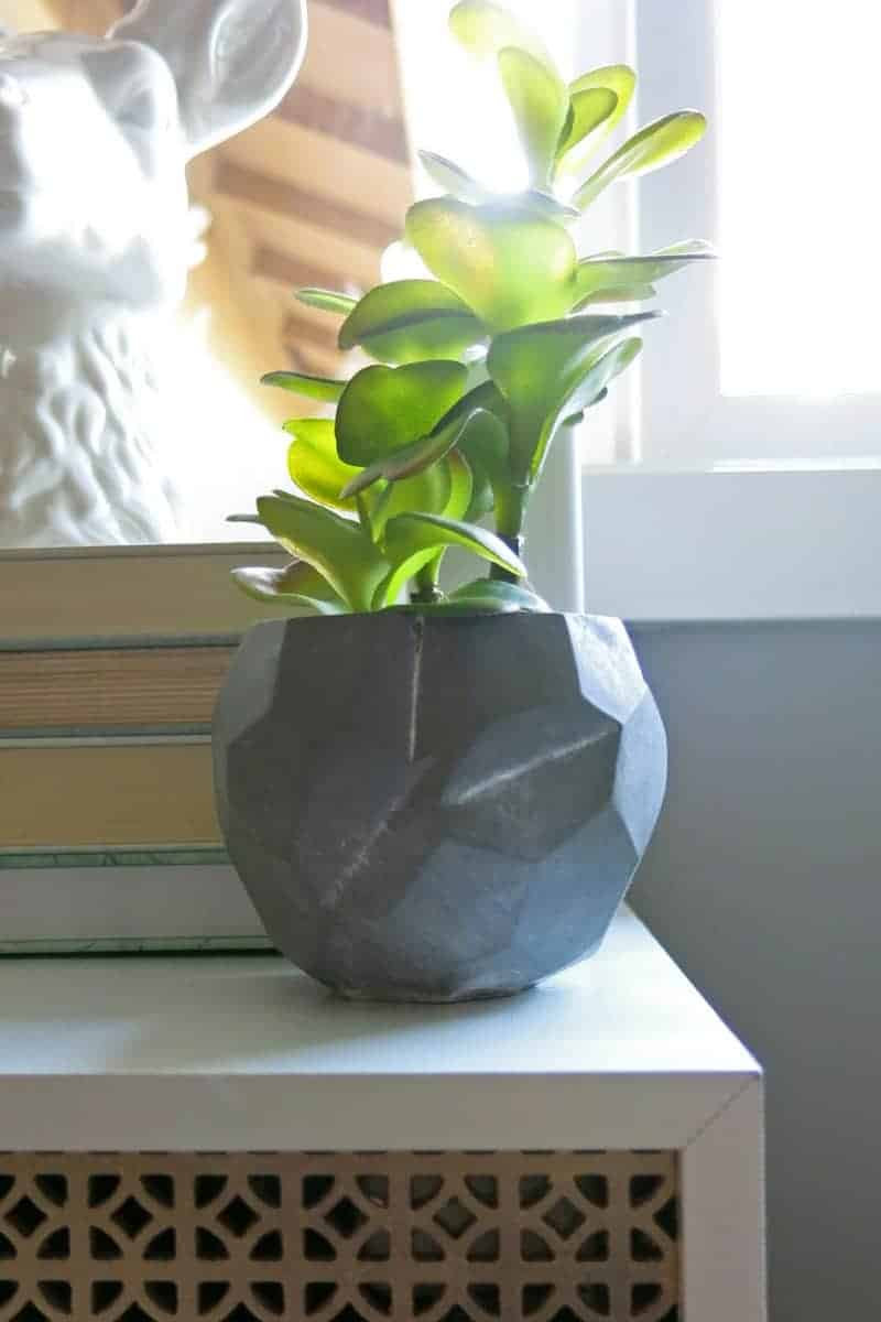 Faux succulent in concrete planter | Geometric concrete bowl | Marble and Gold Office | Mint Green Office | Mint Green and Gold | Details | Mid-Century Modern Office | Geometric Office | Marble Themed Office | Gold and Marble Home Decor | Mint Green Home Decor