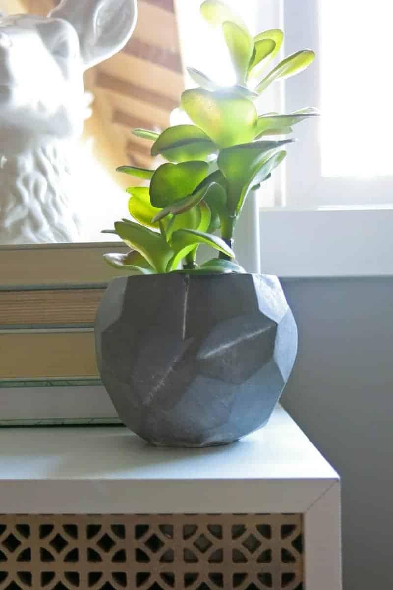Faux succulent in concrete planter | Geometric concrete bowl | Marble and Gold Office | Mint Green Office | Mint Green and Gold | Details | Mid-Century Modern Office | Geometric Office | Marble Themed Office | Gold and Marble Home Decor | Mint Green Home Decor
