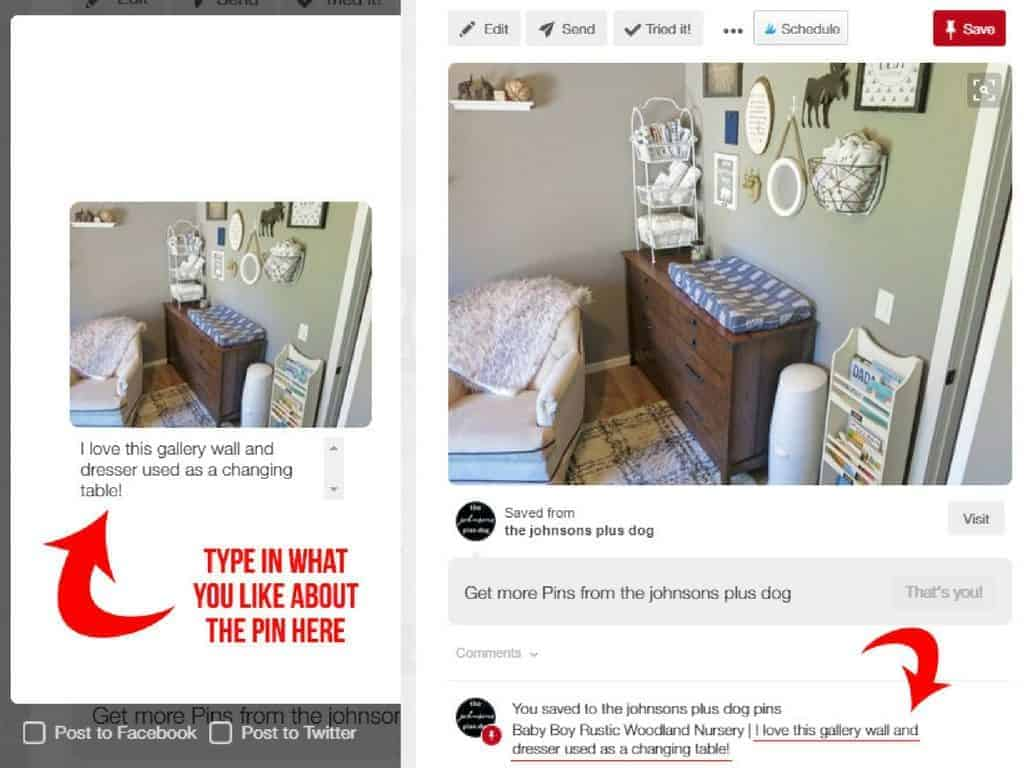 Use the pin description section to save notes to yourself about what you liked about the pin. This will help A LOT as you try to figure out your home decor style | How To Use Pinterest To Discover Your Home Decor Style | Finding your style for home decor | Using Pinterest to find home decor | Figuring out your home decor style with Pinterest | How to make your house a home you love | With these 7 simple steps on how to use Pinterest to discover your home decor style, I promise that you'll walk away feel less frustrated about decorating | Discovering your home decor style