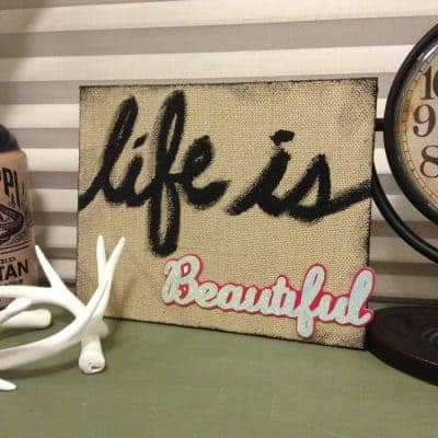 DIY Burlap Painted Sign