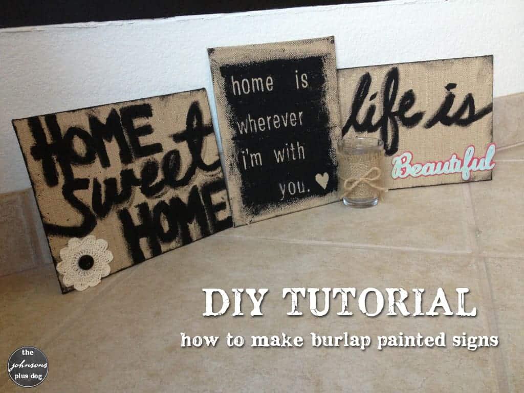 DIY Burlap Painted Sign