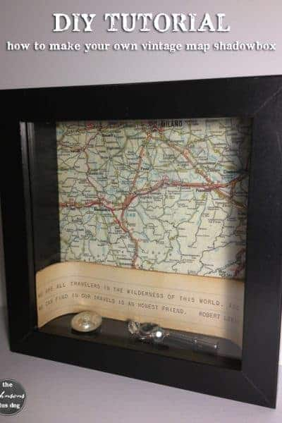diy tutorial   how to make your own vintage map shadowbox   the johnsons plus dog