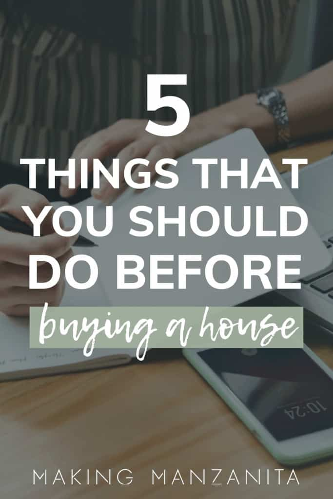 Someone is signing papers with text overlay that says 5 things to do before buying a house
