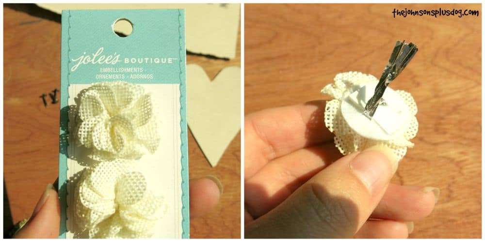 Burlap Flower embellishment for DIY baby shower name badge