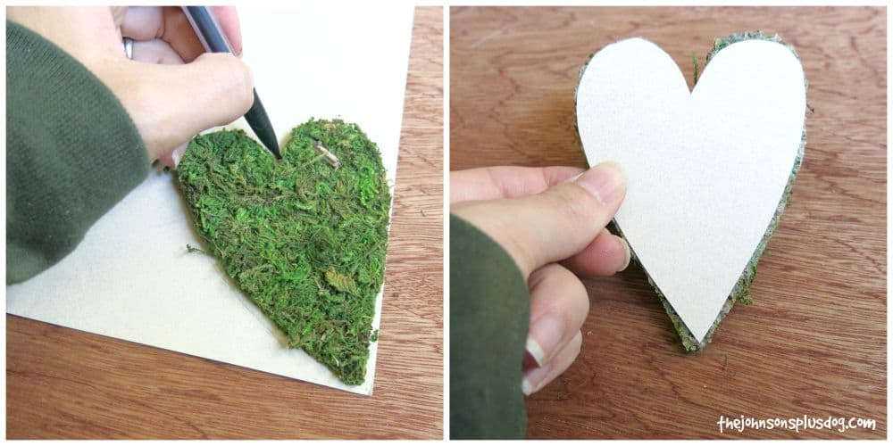 Attach a paper backing to the moss heart that will be the base of this baby shower name tag