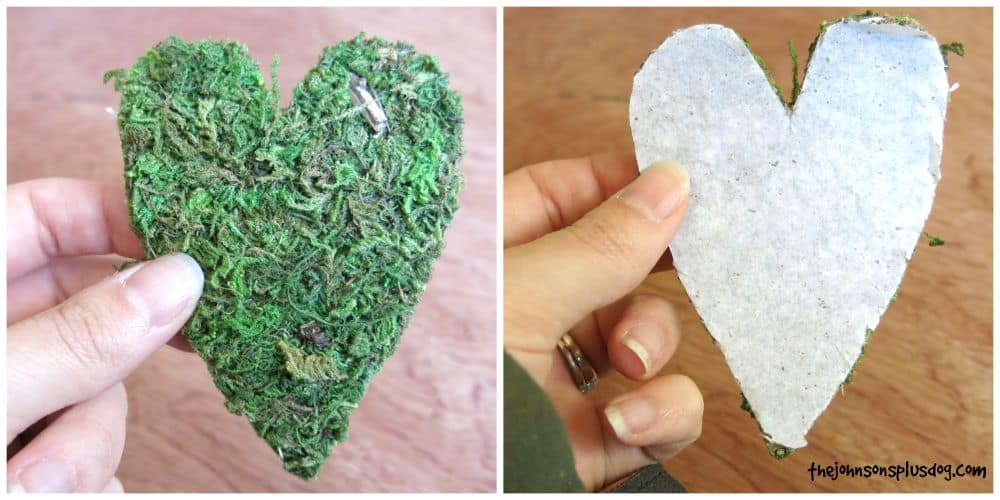 To make this adorable baby shower name tag for the mom to be, start with cutting out a moss heart