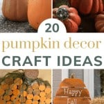 Collage of various pumpkin craft ideas with text overlay that says 20 pumpkin decor craft ideas