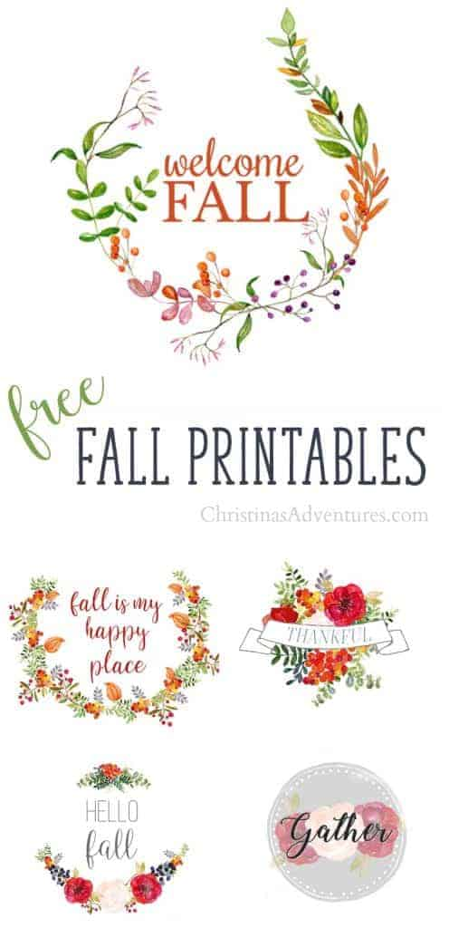 5 Free Fall Printables with Flowers by Christina's Adventures