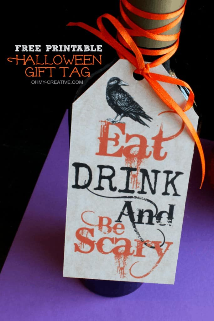 Eat Drink and Be Scary Halloween Gift Tag Printable by Oh My Creative