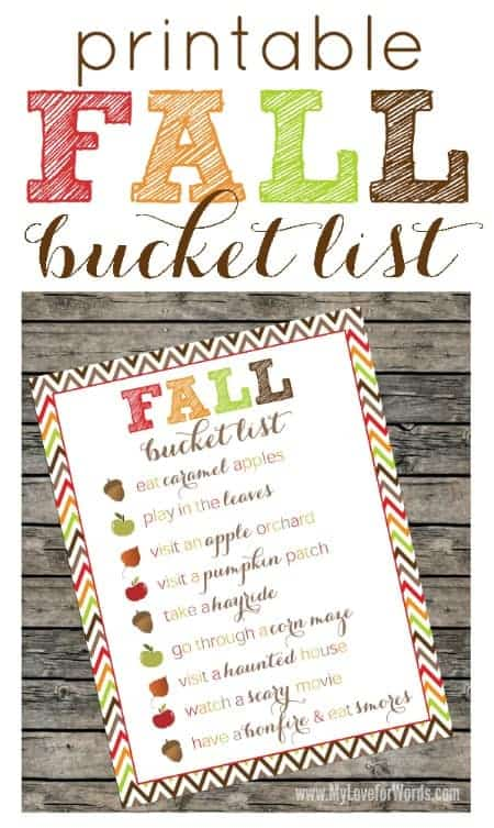 Fall Bucket List Printable by Happy Organized Life