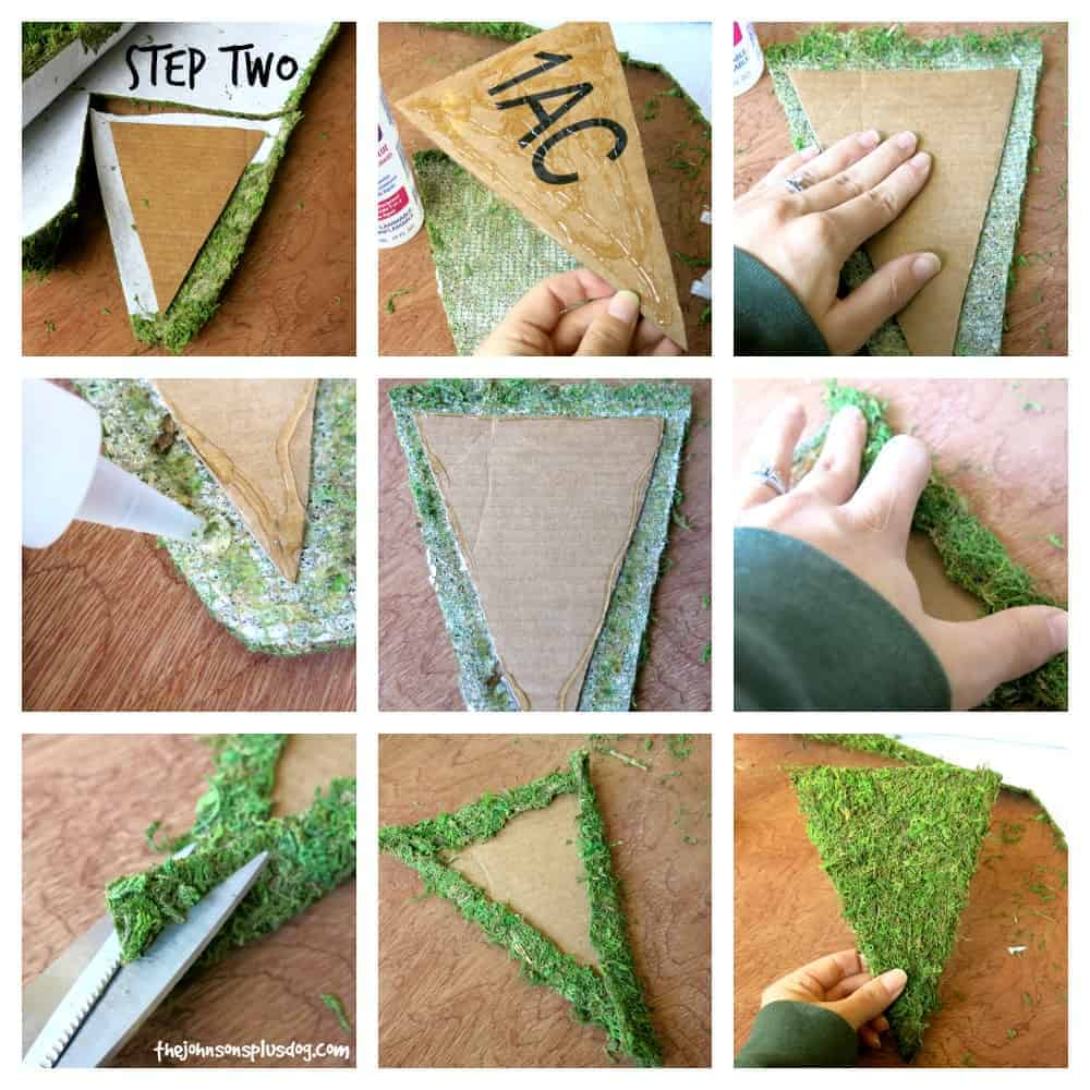 How to make a moss covered banner with recycled cardboard pendants