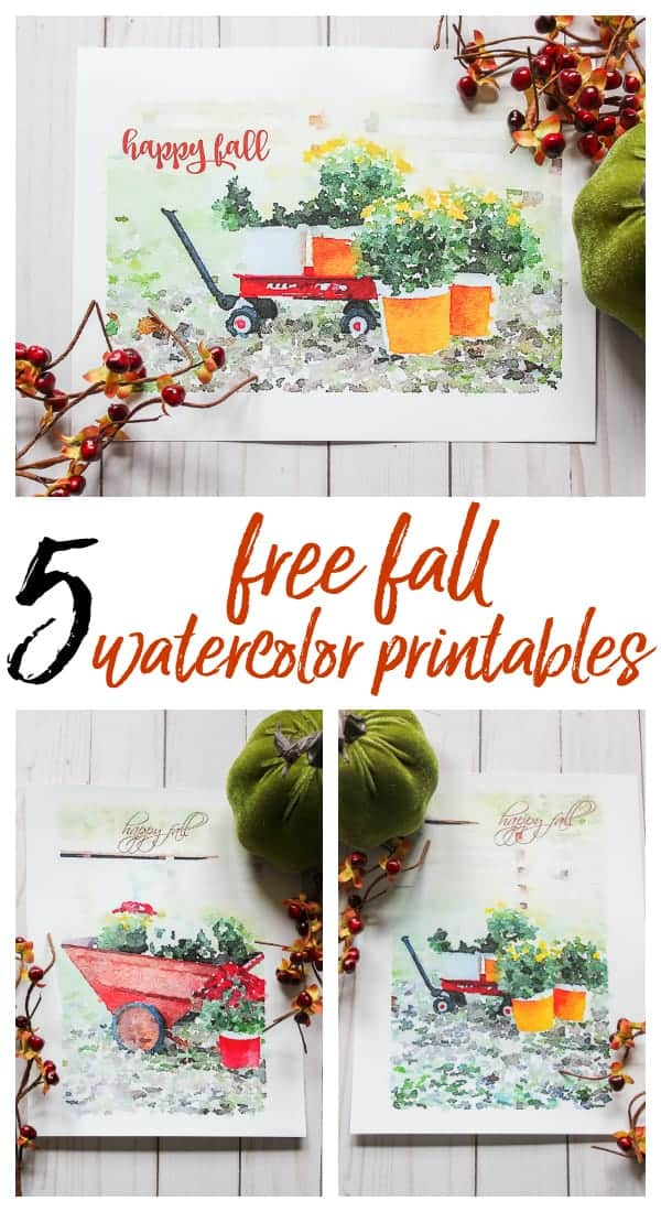 5 Free Fall Watercolor Printables by Rain On A Tin Roof