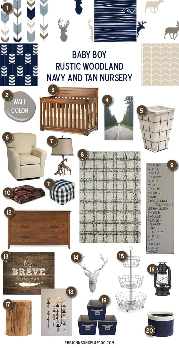 a numbered collection of rustic decor in primarily tan and navy colors ...with a text overlay that says... baby boy rustic woodland navy and tan nursery