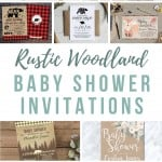 Collage showing different baby shower invitations with a rustic theme with text overlay that says rustic woodland baby shower invitations