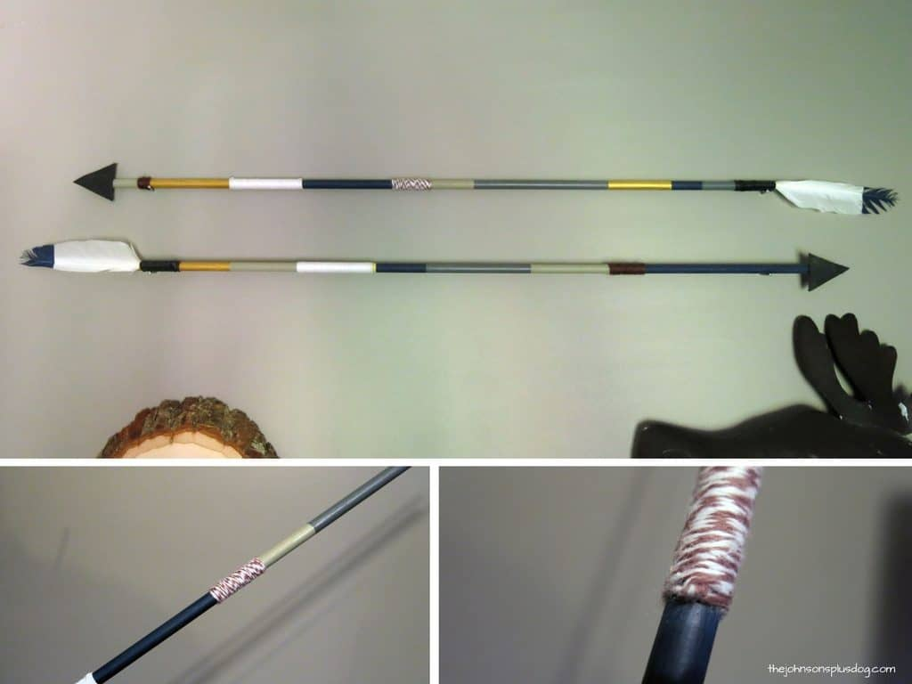 Collage of arrow placed on the wall pointing different ways, a close up of the middle of the arrow with string