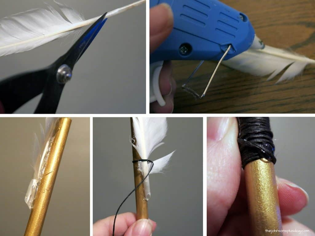 Collage of cutting feather with scissors, applying glue on the end of feather using glue gun, attached feather on the gold painted straw, and black string tied around the edge of the arrow