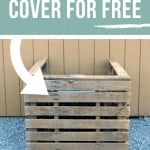 A/C unit cover using pallets with text overlay that says MAke This A/C Cover for Free Using Pallets