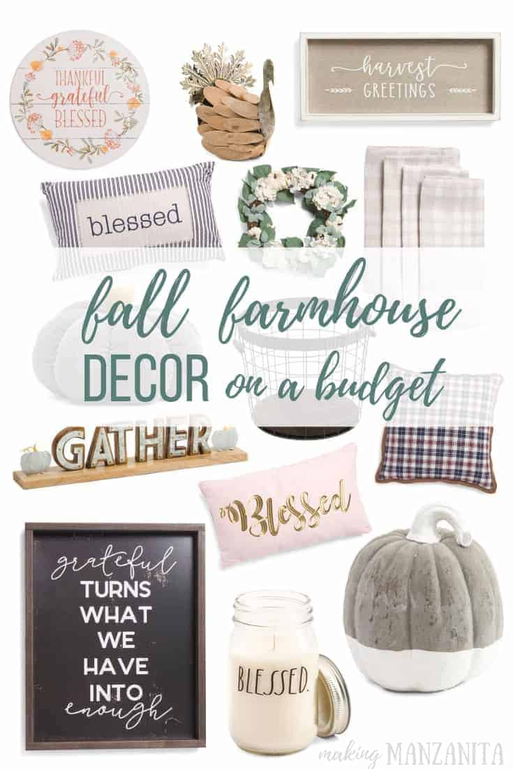 Photo collage of fall farmhouse decor with Fall Farmhouse Decor on a Budget