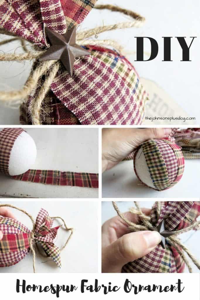 Diy homespun fabric christmas ornament 4 different tutorials for Homemade christmas table decorations uk