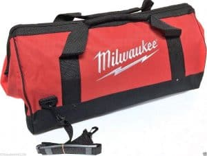 Large red and black tool bag with Milwaukee written on the side of it