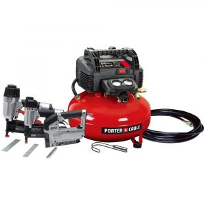 Porter cable pancake air compressor with additional tools that come with it in a set