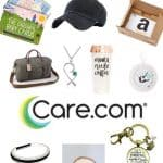 Nursery sign, baseball cap, the mommy pendant, Mommy Milestone wine labels, babysitting, sleep is overrated candle, gift card, handprint/footprint Christmas ornament, hair tie bracelet, inspirational keychain, mama needs coffee cup, milestone baby cards, Leather travel tote, essentials bundle with text overlay that says 13 New Moms Gift Ideas