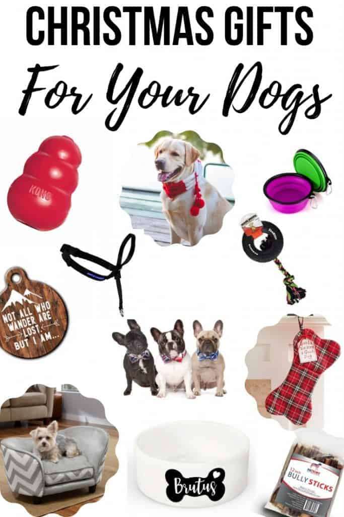 Dog bow tie, tire biter toy, gentle leader, collapsible silicone bowl, plaid bone dog stocking, sofa pet bed, kong toy, lost dog tag, dog bowl, bully sticks, pet scarf with text overlay that says Christmas Gifts for your Dogs
