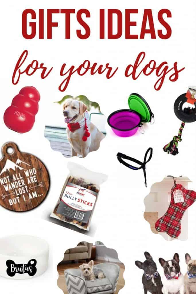 Dog bow tie, tire biter toy, gentle leader, collapsible silicone bowl, plaid bone dog stocking, sofa pet bed, kong toy, lost dog tag, dog bowl, bully sticks, pet scarf with text overlay that says Gift Ideas for your Dogs