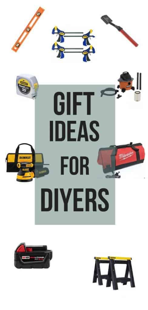 Tools in a collage with text overlay that says gift ideas for DIYers