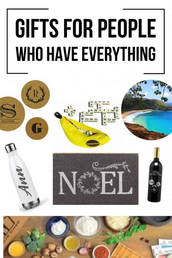 Bananagrams, Tisbest, personalized tumbler, subscription box, personalized door mat, etched holiday wine, personalized hot pad, scenery of a beautiful white sand beach with text overlay that says Gifts for People Who Have Everything.