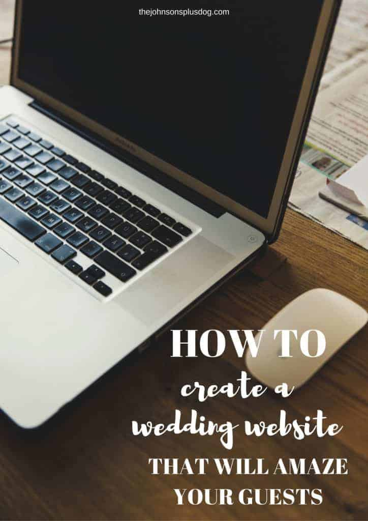 Open computer getting on desk with mouse with text overlay that says how to create a wedding website that will amaze your guests