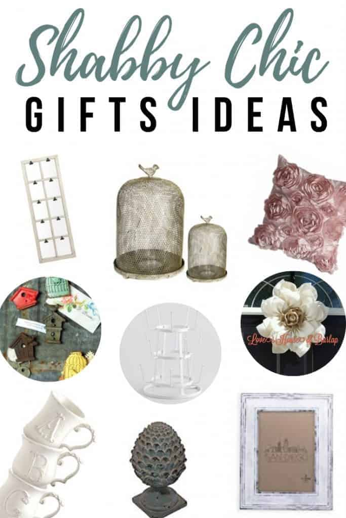 Candle holders, artichoke finial, wooden window pane frame, bird candle lantern, white picture frame, Rose throw pillow, monogram mug, White Wire glass drying rack, Burlap Fflower wreath and birdhouse magnets with text overlay that says  Shabby Chic Gift Ideas