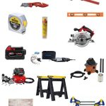 tape measure, utility knife, air compressor, level, tool bag, clamp and more with text overlay that says tool gifts for DIYers
