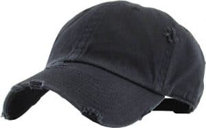 Black baseball hat with fraying for new mom