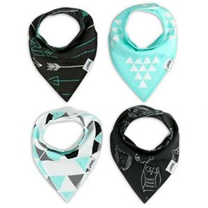 Baby Bandana Drool Bibs in black and teal