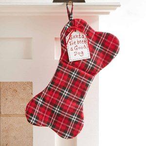 Plaid dog bone stocking