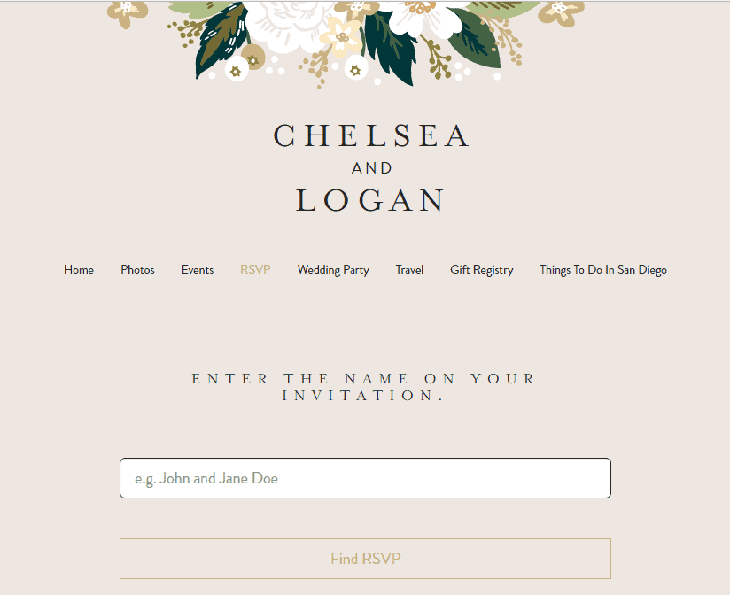 RSVP tab of a Minted wedding website that says Chelsea and Logan at the top with flowers and tan background