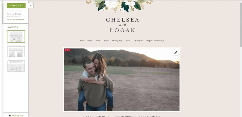 Screenshot of a Minted wedding website layout with picture of happy couple and couple's name with flowers and tan background