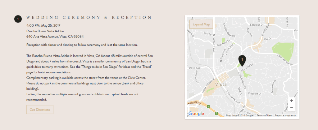 Screenshot of Minted wedding website with directions and a map for wedding ceremony & reception