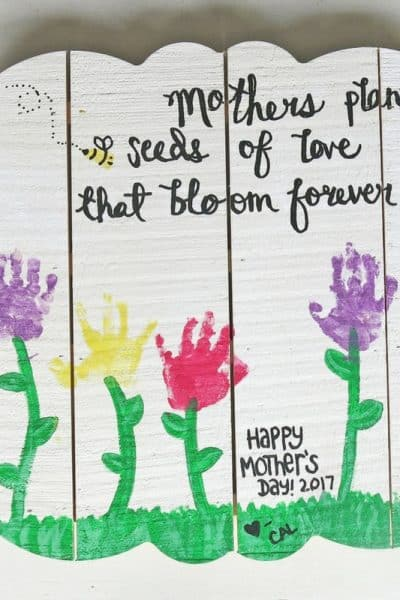 Mother's Day Serving Tray with Kid's Handprints