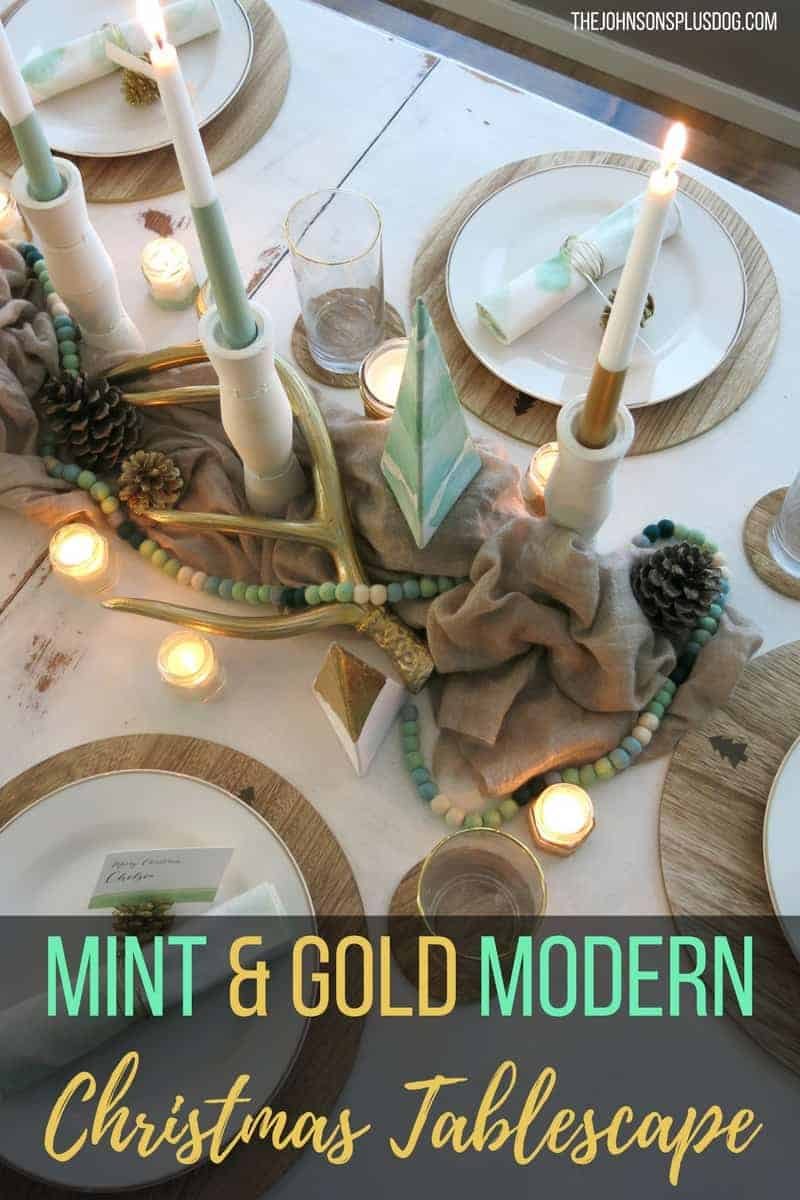 Mint & Gold Modern Christmas Tablescape + New Giveaway !