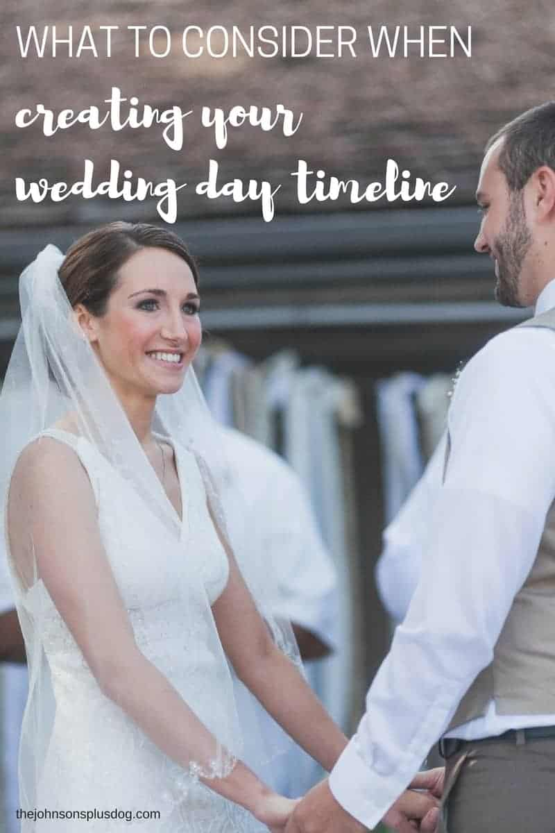Newly wed holding hands with text overlay that says What To Consider When Creating Your Wedding Day Timeline