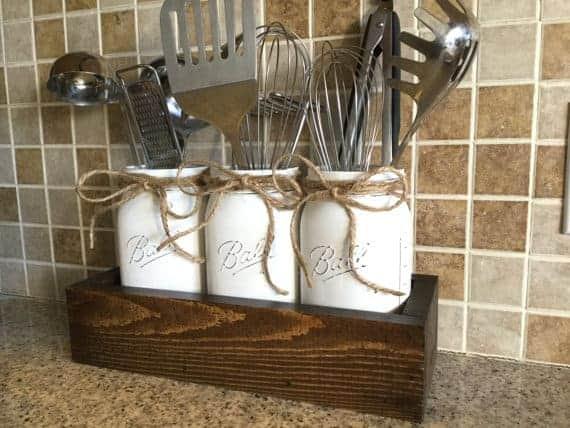 Kitchen utensil holder for home storage solution.
