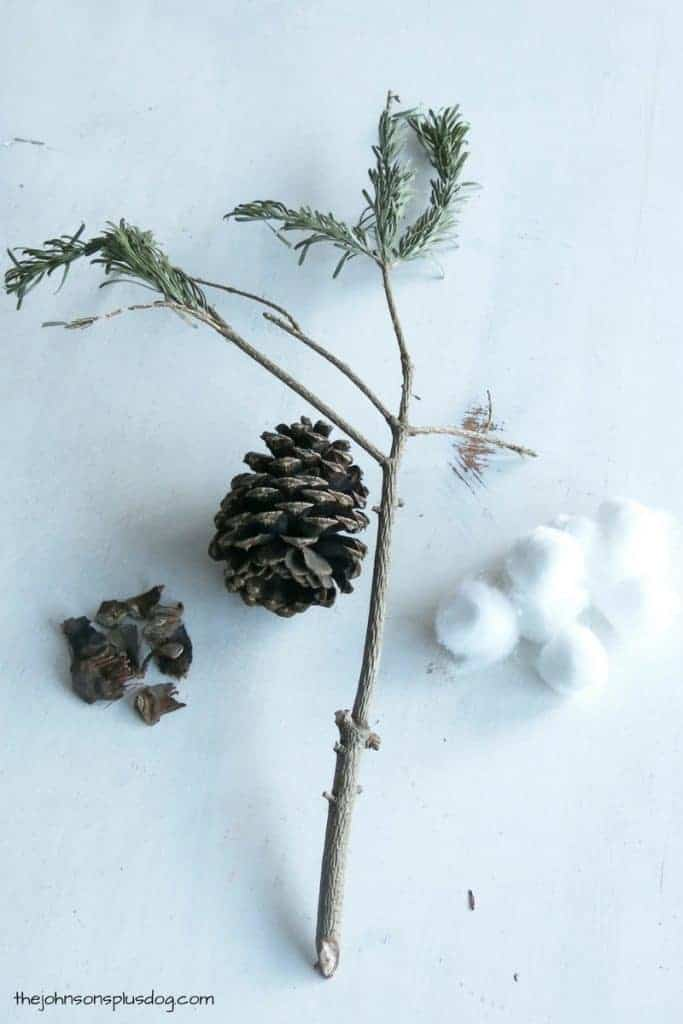 All you need to make DIY cotton stems are some tree twigs, pinecones, and cotton balls