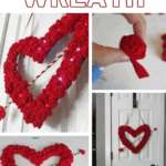 Collage of valentine's day wreath with text overlay that says Valentine's Day Wreath