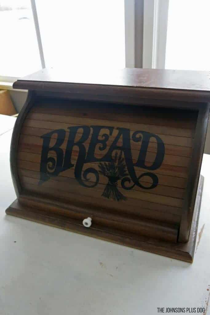 "Wooden vintage bread box with ""bread"" painted on the front"