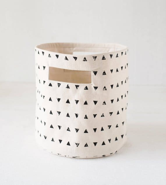 Black and white triangle storage basket from Etsy